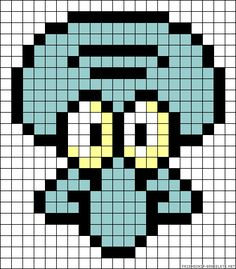 Squidward perler bead pattern... Could be used for rainbow loom.