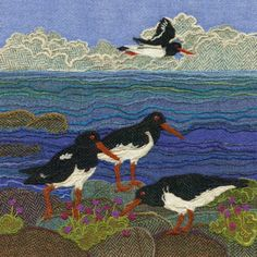 """""""Oystercatchers"""" - Harris Tweed needle felted paintings, giclee prints & greetings cards by Jane Jackson. www.brightseedtextiles.com"""