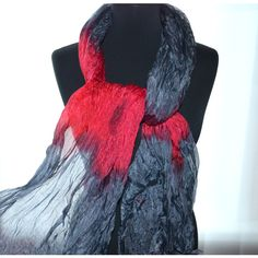 silk scarves hand dyed silk scarf silk scarf grey red silk scarf silk... (54 CAD) ❤ liked on Polyvore featuring accessories and scarves