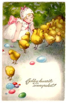 POSTCARD EASTER GREETINGS GIRL WITH CHICKS HANNES PETERSEN SIGNED #Easter