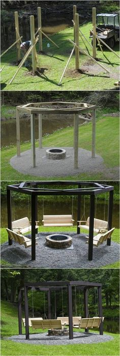 DIY Backyard Fire Pit with Swing Seats # Backyard . DIY Hinterhof Feuerstelle mit Schaukel Sitze # Hinterhof DIY backyard fire pit with swing seats # backyard