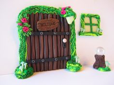 Fairy door set, accessories, miniatures, gazing ball, mossy window, mushrooms, gnomes, elf, polymer clay by DawnsClayFantasy on Etsy