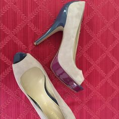 "Host Pick Enzo Angiolini Suede & Leather Pumps New Enzo Angiolini Easlone Suede/Leather Pumps with Peep Toe.  Nude suede with two-tone glossy platform and heel. Blue heel and peep toe with fuchsia platform.  Heel 5.25"" and 1"" platform. Leather Upper. NWOT Enzo Angiolini Shoes Heels"