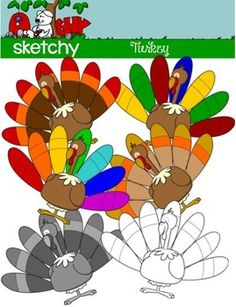 Turkey / Thanksgiving Holiday Clip art / Graphic FREEBIE  Included are 4 Color, 1 Grayscale, and 1 Black Lined, PNG/Transparent Clipart. 6 Items Total.