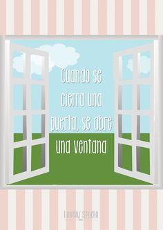 "Lámina ""Cuando se cierra una puerta, se abre una ventana"". Quotes Lovelystudio"