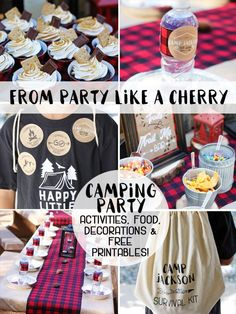 everything you need to throw a camping party including food ideas, activities, decorations, free printables and a shopping list! head to party like a cherry now! Camping Party Activities, Camping Parties, Kids Party Themes, Birthday Party Themes, Party Ideas, Themed Parties, Theme Ideas, Party Printables, Free Printables