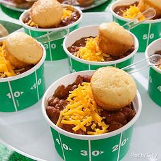 Game-winning strategy: Chili & corn bread! Whip up your favorite chili & serve in field-zone printed bowls! Top with cheese & mini corn bread!