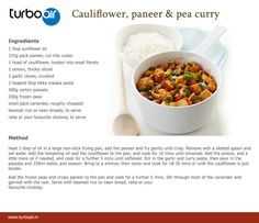 Cauliflower, paneer and pea curry ‪#‎recipe‬ for ‪#‎healthy‬ ‪#‎weekend‬.