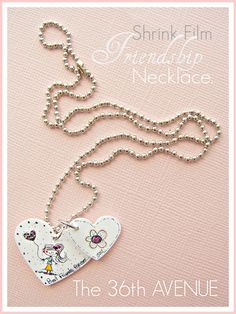 DIY friendship necklaces from shrink film. Cute handmade gift or girls birthday party craft