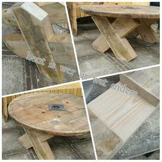 Robuste tuintafel van kabelhaspel met kruispoten van dak gordingen. Het begin is er. Verdere afwerking en op pimpen is voor een andere x.