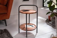 Malý konferenčný stolík. Industrial Side Table, Serving Table, Structure Metal, Acacia Wood, Folded Up, Space Saving, Modern Design, Retro Design, Bar Stools