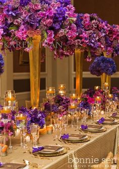 Pink Purple and Gold Wedding Reception. we'll never be this royal! Quinceanera Centerpieces, Table Centerpieces, Purple Centerpiece, Purple Wedding Centerpieces, Quinceanera Party, Wedding Colors, Wedding Flowers, Purple And Gold Wedding, Karen Tran