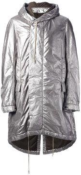 ShopStyle(ショップスタイル): Rick Owens DRKSHDW metallic hooded coat