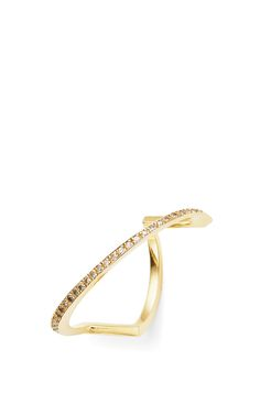 14K Yellow Gold Slash Diamond Bar Ring by Mateo