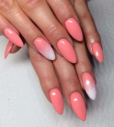 Coral nails with ombre accent nail
