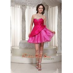 Hot Pink Organza Mini-length Sweetheart For Prom / Cocktail Dress With... via Polyvore
