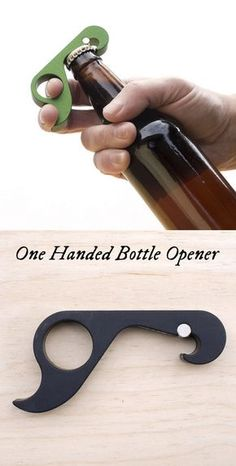 A simple, yet powerful bottle opener Made in the USA. Its advanced ergonomic design lets you hold the bottle and pop the top with just one hand.