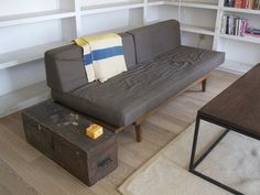 I like the idea of having a chest like this as an end table (and to store blankets)