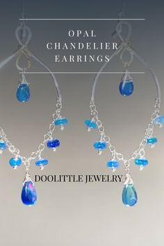 Dainty Earrings, Chandelier Earrings, Gemstone Earrings, Earrings Handmade, Gemstone Jewelry, Special Deals, Blue Opal, Opals, Gift Cards