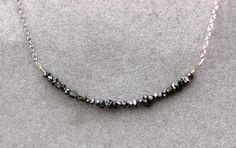 Black Rough Diamond and 14k White Gold Birthstone by Specimental, $250.00