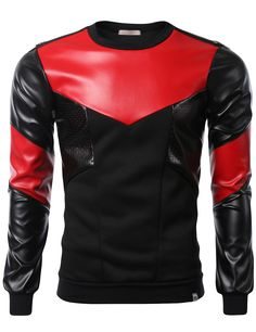 SMITHJAY Mens Hipster Hip-Hop Black & Red Leather Fleece Sweatshirt with Zipper #smithjay