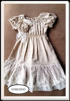 52f7f725ca7 Belle époque  The Beautiful Era  Linen Peasant Dress Vintage Kids Clothes