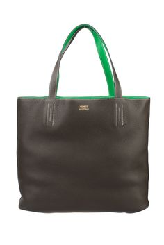 Hermes Ebony and Bamboo Clemence Leather Reversible Double Sens Tote Bag  Hermes Bags 5ddce03dae026