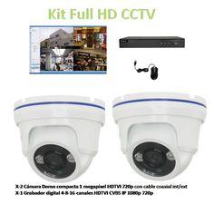 Kit 2 Cámaras Domos y Grabador Full HD CCTV TVI Oferta 115€  Mas Iva