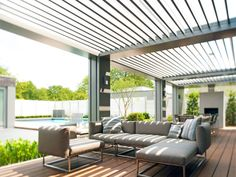 Pergola With Retractable Roof Outdoor Shade, Outdoor Pergola, Outdoor Rooms, Backyard Patio, Outdoor Living, Outdoor Decor, Building A Pergola, Pergola With Roof, Pergola Kits
