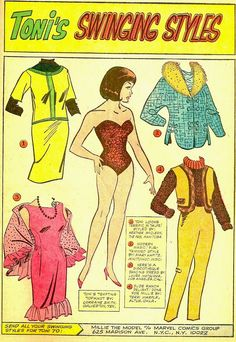 Toni's Swinging Styles, 1966 The last of the tab-less paper dolls from the May 1966 issue of Millie the Model #137