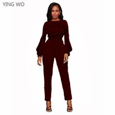 Aliexpress.com   Buy Wine Blue Ruffles Long Sleeve Sashes Details Woman  Fashion Jumpsuits Streetwear Casual Ladies O Neck Ankle length Slim Jumpsuit  from ... aaac4ec0947c
