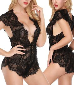 3654ce8f1eab Amazon.com: NINGMI Lingerie for Women Teddy Deep V One Piece Eyelash Lace  Babydoll Bodysuit (Medium): Clothing