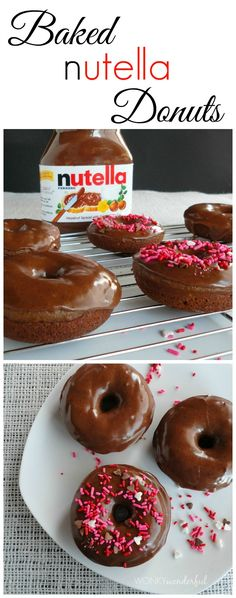 Baked Nutella Donuts oh my gosh yessss. I hate donuts but this is worth a try Nutella Donuts, Baked Doughnuts, Baked Donut Recipes, Baking Recipes, Chocolate Donuts, Homade Donuts, Donuts Donuts, Chocolate Torte, Delicious Donuts