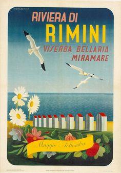 1947 Rimini Riviera , Italy vintage travel poster