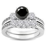 Share 1.15 Carat (ctw) 14k White Gold Round Black & White Diamond Ladies Bridal Engagement Ring Matching Band Set - Dazzling Rock #https://www.pinterest.com/dazzlingrock/