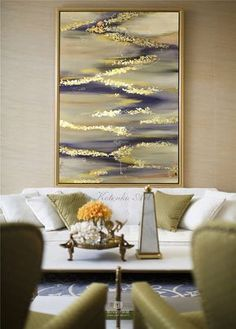 Large Abstract Oil Painting Gold Leaf Painting by Julia Kotenko
