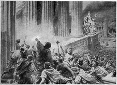 The Burning of the Library at Alexandria in 391 AD, illustration from 'Hutchinsons History of the Nations', 1910 lithography. Ancient Greece, Ancient Egypt, Ancient History, Knowledge Database, Library Of Alexandria, Alexandria Egypt, Social Media Updates, Alexander The Great, Christianity