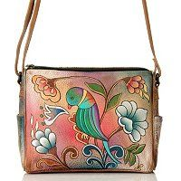 Anuschka Hand-Painted Leather Twin Top Convertible Handbag ShopNBC.com