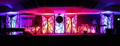 Ben Moore from Valley Christian Center in Fresno, California brings us this mosaic of color. Kids Church Rooms, Kids Stage, Church Stage Design, Stage Lighting, Through The Looking Glass, Drops Design, Staging, Design Inspiration, Design Ideas