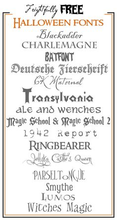 Frightfully Free Halloween Fonts! With links to the site for each font.#halloween #fonts