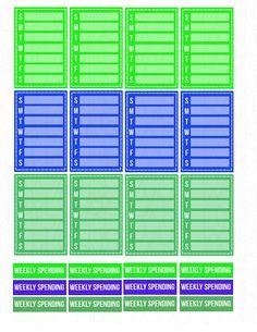 Printable Planner Stickers Weekly Habits Sidebar by LaceAndLogos