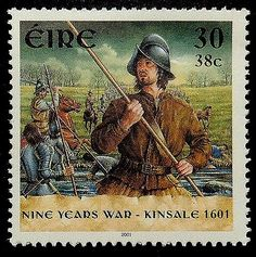 Nine years' war or Tyrone's Rebellion, Kinsale 1601 (took place in Ireland from 1594 to 1603). Irish stamp. circa 2001 .