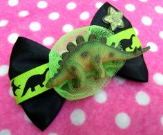 Wacky Dinosaur Hair Bow Brooch by hobbittownjewelry on Etsy, $12.00
