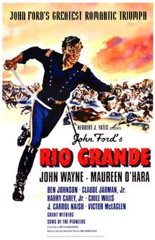 Rio Grande  Directed by John Ford.  Produced by Merian C. Cooper  John Ford.  Written by James Warner Bellah  (story).  James K. McGuinness (screenplay)  Starring John Wayne, Maureen O'Hara.  Music by Victor Young