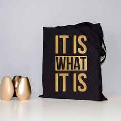 Tote bag metallic foil gold foil tote black by CocoAndDeeDesign