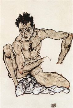 EGON-SCHIELE-AUTORITRATTO-I-1917 Artist : Egon Schiele ♣️Fosterginger.Pinterest.ComMore Pins Like This One At FOSTERGINGER @ PINTEREST No Pin Limitsでこのようなピンがいっぱいになるピンの限界