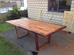 m 10 person dining table built from recycled rimu. Just need to make bench seats. 10 Person Dining Table, Dinning Room Tables, Outdoor Tables, Outdoor Decor, Recycling, Bench, Outdoor Furniture, Dinner, Building