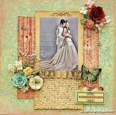 Remember - Scrapbook.com - Gorgeous wedding layout. #scrapbooking #wedding #prima