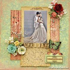Remember - Scrapbook.com - Gorgeous wedding layout. #scrapbooking #wedding #prima