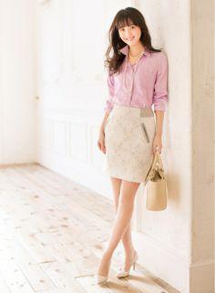 ラベンダーカラー×パールでつくる洗練された女らしさ   ファッション コーディネート   with online on ウーマンエキサイト